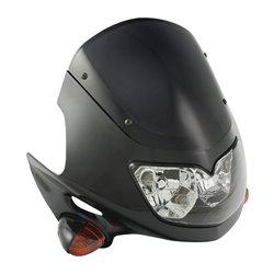 Universal Raptor Fairing Headlight With Indicators Black 12V 25/25W
