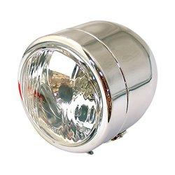 Universal Single Round Dominator Headlight Chrome Bottom Mount E-Marked Halogen-Bulb H4 12V 60/55W