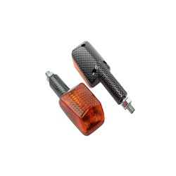 Bike It Long Stem Mini Indicators With Carbon Body And Amber Lens