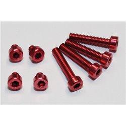 Aluminium schroeven set M4 rood geanodiseerd