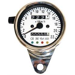 Roestvrijstalen snelheidsmeter 1400 RPM Ø 60 mm wijzerplaat wit blauw verlicht