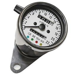 Roestvrijstalen snelheidsmeter 1000 RPM Ø 60 mm wijzerplaat wit blauw verlicht