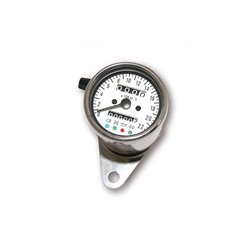Roestvrijstalen snelheidsmeter 1400 RPM Ø 60 mm wijzerplaat wit oplichtend wit